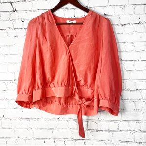 MADEWELL NWT Silk Sash Tie Front Wrap Coral Crop M